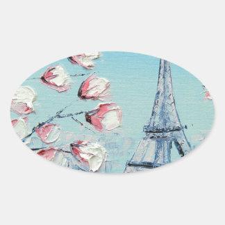 pintura de la primavera del ris, flores de cerezo pegatina ovalada