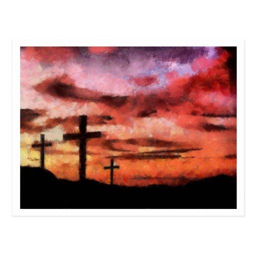 Pintura de la puesta del sol de 3 cruces tarjetas postales