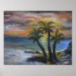 Pintura de la puesta del sol de la palmera posters