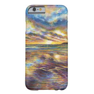 Pintura de la puesta del sol de la playa de Gower Funda Para iPhone 6 Barely There