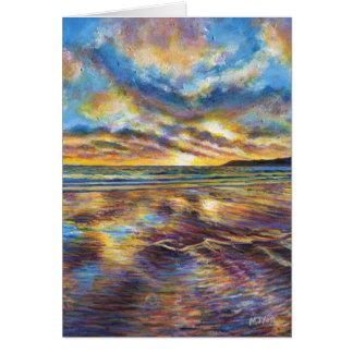 Pintura de la puesta del sol de la playa de Gower Tarjeta De Felicitación