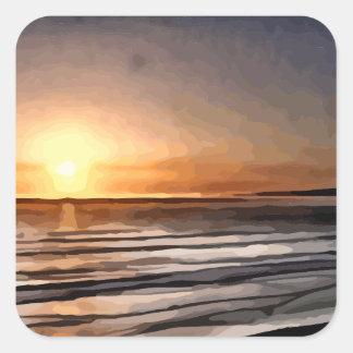 Pintura de la puesta del sol de Santa Cruz Pegatina Cuadrada