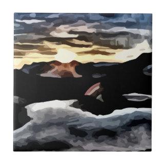 pintura de la puesta del sol del lago azulejo cuadrado pequeño