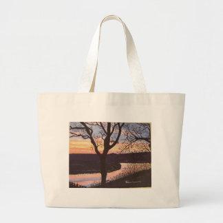 Pintura de la puesta del sol del río Arkansas Bolsas Lienzo