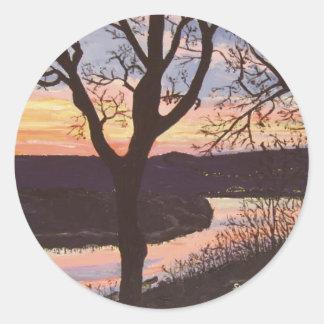 Pintura de la puesta del sol del río Arkansas Pegatina Redonda
