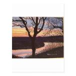 Pintura de la puesta del sol del río Arkansas Tarjetas Postales