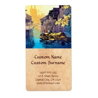Pintura de la puesta del sol del río del paisaje d etiqueta de envío