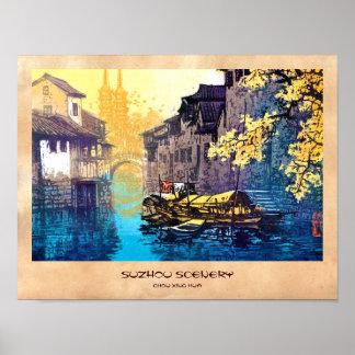 Pintura de la puesta del sol del río del paisaje d póster