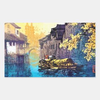 Pintura de la puesta del sol del río del paisaje rectangular pegatinas