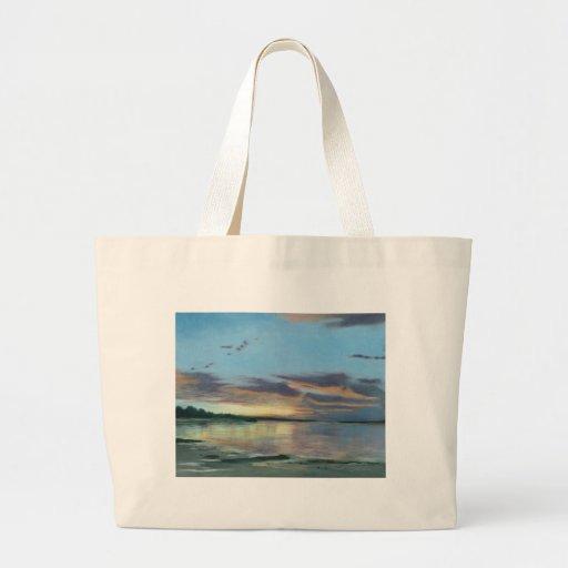 Pintura de la puesta del sol en la playa Oregon Bolsas