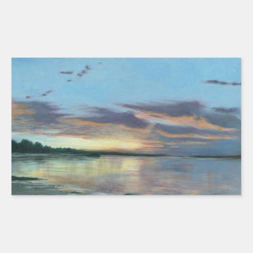 Pintura de la puesta del sol en la playa Oregon Pegatina Rectangular