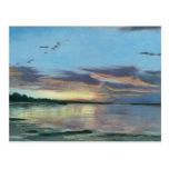 Pintura de la puesta del sol en la playa Oregon Tarjeta Postal