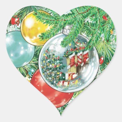 Pintura de la reflexión del árbol de navidad de la pegatina corazon