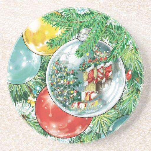 Pintura de la reflexión del árbol de navidad de la posavaso para bebida