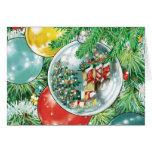 Pintura de la reflexión del árbol de navidad de la tarjetas