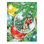Pintura de la reflexión del árbol de navidad de la tarjeta postal