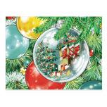 Pintura de la reflexión del árbol de navidad de la postal