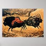 Pintura de la roca del bisonte, c.17000 A.C. Póster