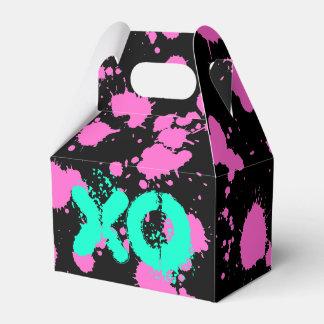 Pintura de la salpicadura de Fuschia 90s del negro Caja Para Regalos