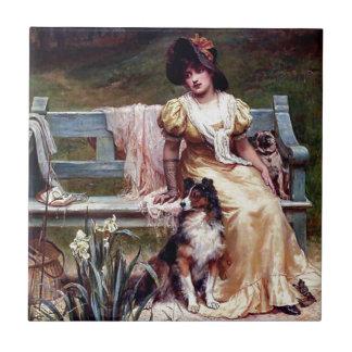 Pintura de la señora y de dos perros caseros azulejo cuadrado pequeño