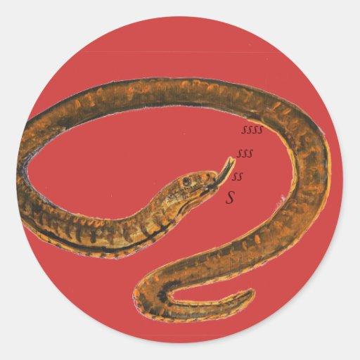 Pintura de la serpiente etiqueta redonda