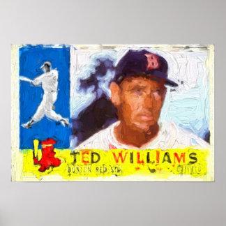 Pintura de la tarjeta 1960 de béisbol póster