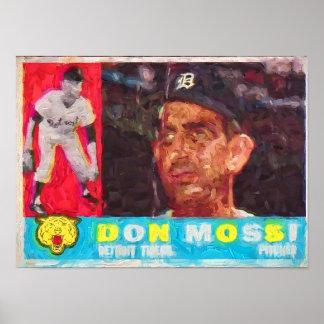 Pintura de la tarjeta de béisbol de los años 60 póster