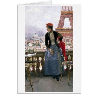 Pintura de la tarjeta de felicitación de la torre