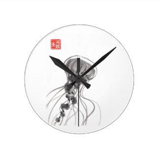 Pintura de la tinta de las medusas del Chrysaora Reloj De Pared
