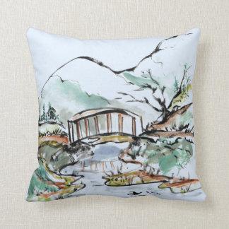 Pintura de la tinta de Sumi-e de dos paisajes del  Cojines
