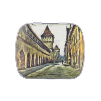 Pintura de la torre del carpintero de Sibiu Frascos De Caramelos