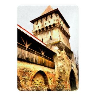 Pintura de la torre del carpintero de Sibiu Invitación 12,7 X 17,8 Cm