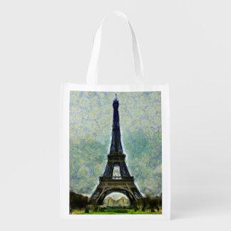 Pintura de la torre Eiffel Bolsa Reutilizable