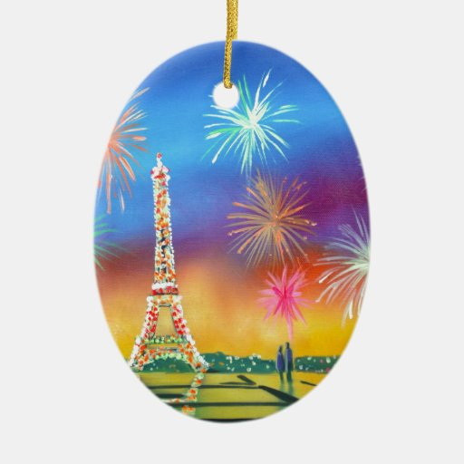 Pintura de la torre Eiffel en París Adorno Ovalado De Cerámica