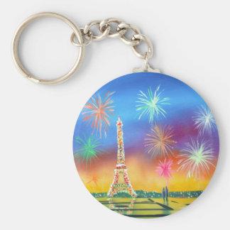 Pintura de la torre Eiffel en París Llavero Redondo Tipo Pin