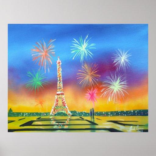 Pintura de la torre Eiffel en París Póster