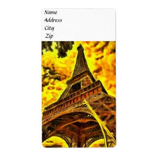 Pintura de la torre Eiffel Etiqueta De Envío