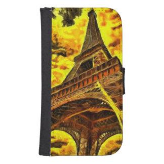 Pintura de la torre Eiffel Billeteras Para Teléfono