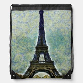 Pintura de la torre Eiffel Mochilas