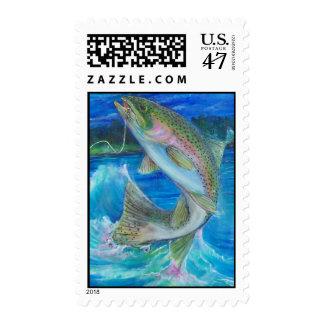 Pintura de la trucha arco iris timbre postal