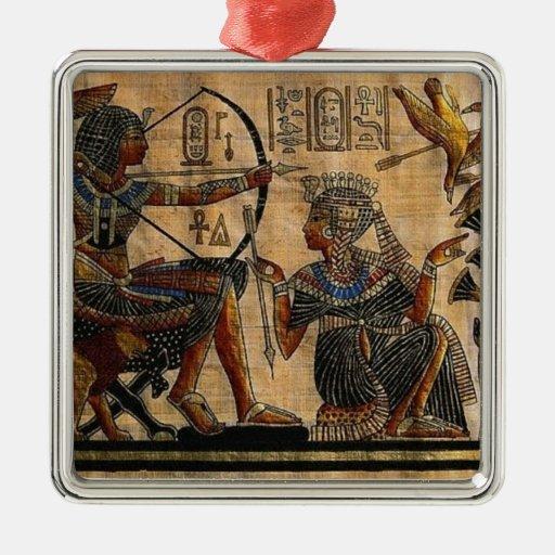 Pintura de la tumba en el papiro adorno cuadrado plateado