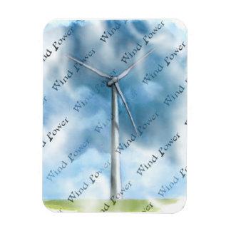 Pintura de la turbina de viento: Energía eólica: E Imán Foto Rectangular