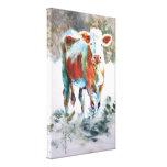 Pintura de la vaca con colores inusuales lona envuelta para galerias