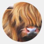 Pintura de la vaca de la montaña pegatinas redondas