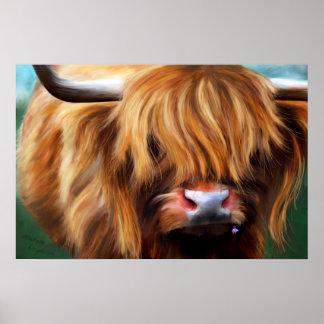 Pintura de la vaca de la montaña poster