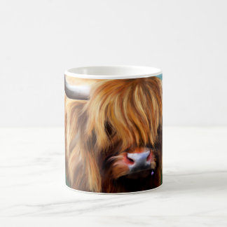 Pintura de la vaca de la montaña taza de café