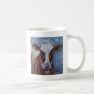 Pintura de la vaca, decoración de la vaca, arte de taza básica blanca