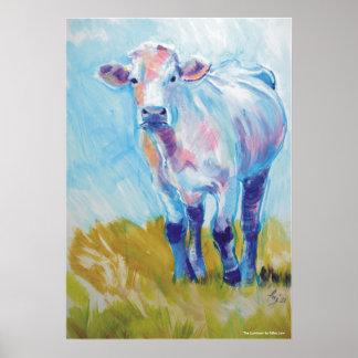Pintura de la vaca póster