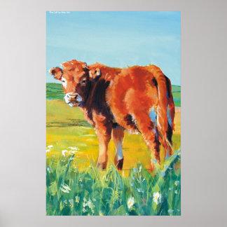 Pintura de la vaca y de paisaje del becerro impresiones
