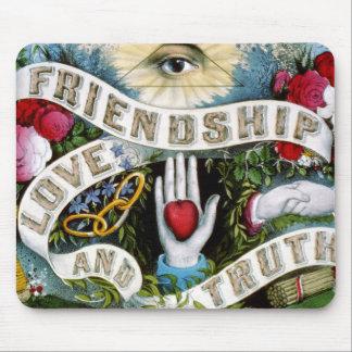 Pintura de la verdad del amor de la amistad tapete de raton